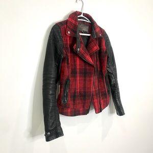 Jackets & Blazers - Plaid/ faux leather jacket